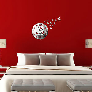 papillon 3d bricolage miroir salon design moderne horloge murale d coration bon ebay. Black Bedroom Furniture Sets. Home Design Ideas