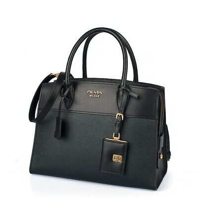 Prada 1BA046 F0002 Saffiano Esplanade Leather City Calf Handbag - Nero Black (Prada City)