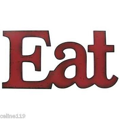 Eat  Kitchen Decor Dining Room Wall Vintage Style Plaque Sign Rustic Red Wood