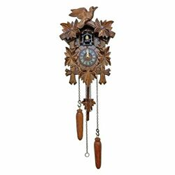 Small Cuckoo Clock Black Forest Wood Wall Quartz Battery Driven 12 Tunes Songs