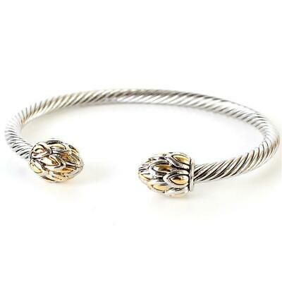 ~Designer Inspired Stainless Steel Twisted Cable Cuff Bracelet - Lotus Buds