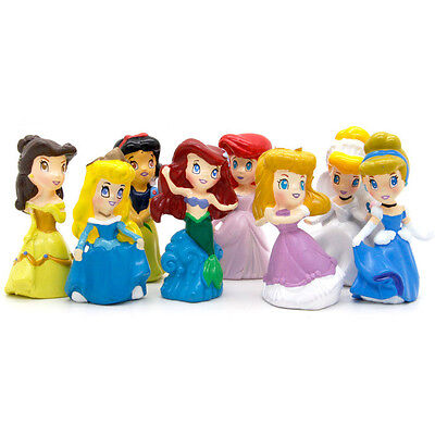 Sizzle Princesses Figures Cake Toppers Snow White Little Mermaid Belle 8pcs SSF](Little Mermaid Cake Toppers)
