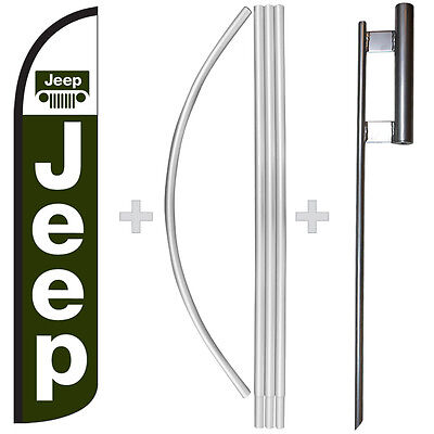 Jeep 15 Tall Windless Swooper Feather Banner Flag Pole Kit