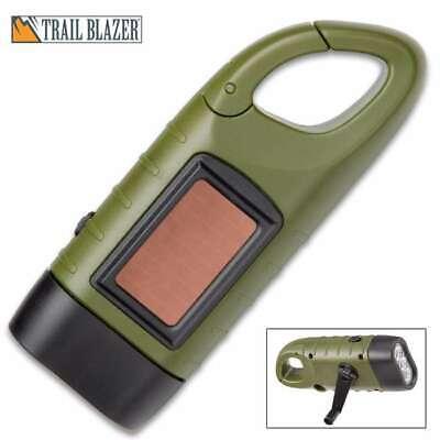 Trailblazer Hand Crank Emergency Survival Camping Flashlight w/ Solar Panel