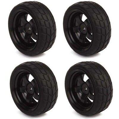 4pcs RC 1: 10 on Road Car 5 Spoke Black Wheel Rims & Rubber Tires 65mm OD