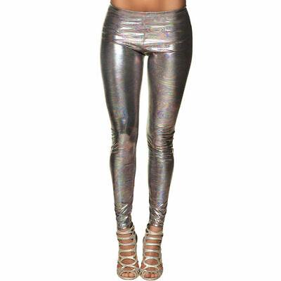 Leggings Silber Disco Glanz, ideal als Kostüm Zubehör 80er Verkleidung