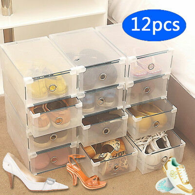 STORAGE SHOE BOXES PLASTIC DRAWER BOX KITCHEN GARAGE TOOL ORGANISER CLOSET 12 x