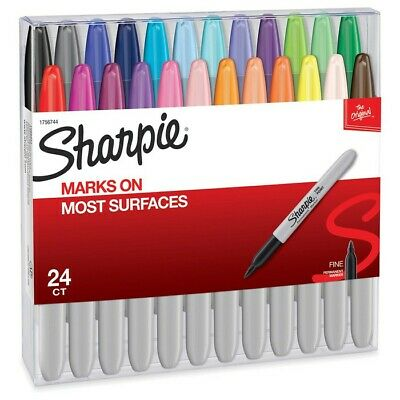 Sharpie Permanent Markers Fine Point Non-toxic Assorted Colors - 24 Count