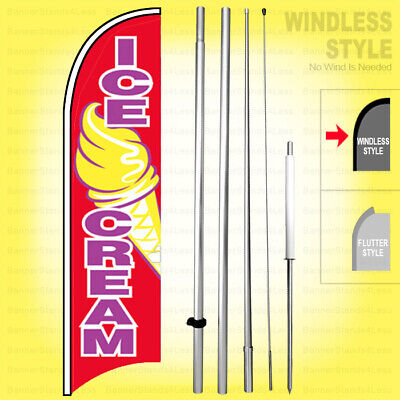 Ice Cream - Windless Swooper Flag Kit 15 Feather Banner Sign Rb-h
