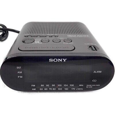 Sony Dream Machine Alarm Clock Display AM FM Radio Tested Working ICF-C218 Black