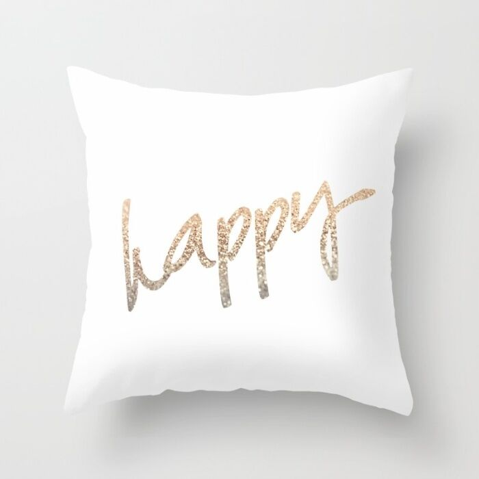Polyester Gold Letter pillow case cover sofa car waist cushion cover Home Decor