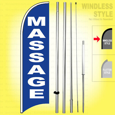 Massage - Windless Swooper Flag Kit 15 Feather Banner Sign Bb-h