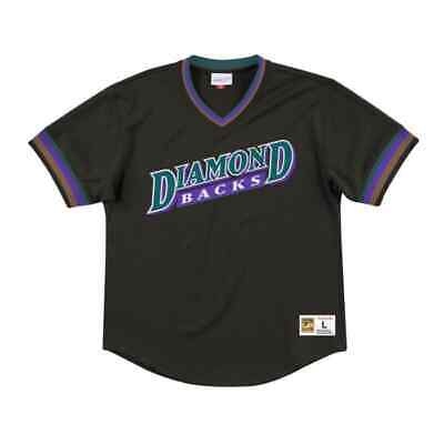 Mitchell & Ness Arizona Diamondbacks MLB Mesh Black V-Neck Cooperstown Jersey