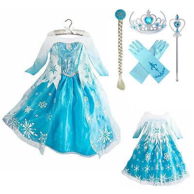 Kinder Mädchen Prinzessin Elsa Kleid Kostüm Schneewittchen Karneval - Schneewittchen Mädchen Kostüm