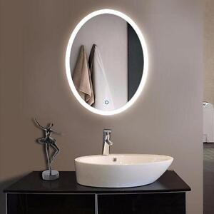 24 x 32 Oval LED Bathroom Mirror with Touch Button