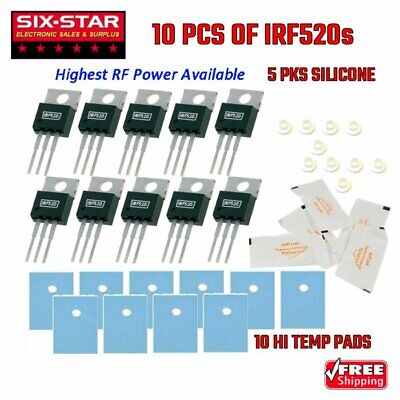 10 Pcs Irf520p - To220 N-channel Power Mosfet Rf Final Driver Cb 10m Radio