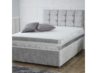 *Brand new*Crushed Velvet Divan Set with Matching Fabric Headboard and Orthopaedic/ Memory Foam Matt