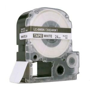 Weekly Promo! Epson LC-6WBN LabelWorks Standard LK Label Tape, 24mm, Black On White, SS24KW,  Compatible