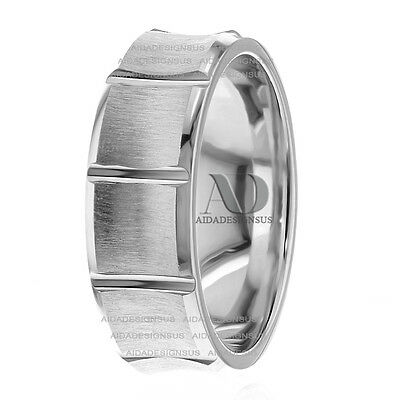 Bars Design Light Concave Wedding Band 14K White Gold His Hers Wedding Ring -