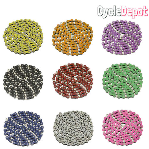 """NEW YBN Single Speed Bicycle Chain 1/2""""X1/8"""" 112L BMX Freestyle Chain ALL COLORS"""