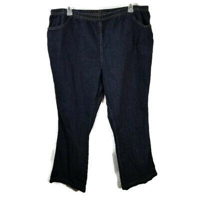 JMS Just My Size Elastic Waist Bootcut Jeans Womens Plus Size 4X Dark Wash