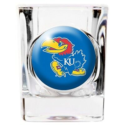 Basketball Square Shot Glass (Shot Glass, Crystal Coat Kansas KU Jayhawks Emblem, Square, 2 oz ounces, NEW )