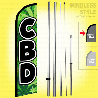 Cbd - Windless Swooper Flag Kit 15 Feather Banner Sign Gf-h