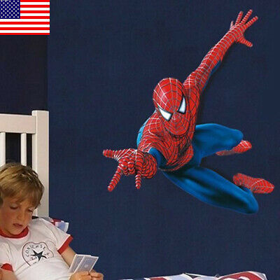 US! DIY 3D Removeable Spiderman Wall Sticker Vinyl Mural Decal Kids Room Decor  - Spiderman Wall Decal