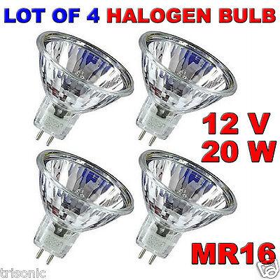 LOT OF 4 BULB HALOGEN LIGHT BULB MR16 CLEAR BI-PIN WIDE BEAM EXN 12 VOLT 20 WATT 12 Volt Clear Bi Pin