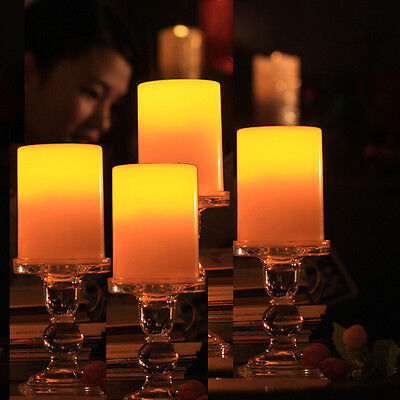 4 Pack Flickering Flameless Resin Pillar LED Candle Lights f