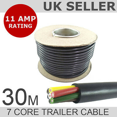 30M Roll of 7 Core Trailer-Caravan-LED Lights Wire Cable - Rated to 11 AMPS