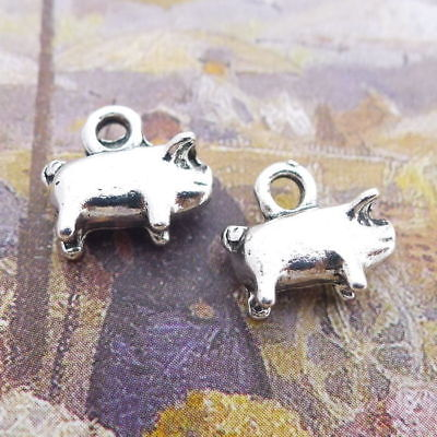 Cute Charms (10pcs Charms Cute Fat Pig Animal Tibetan Silver Beads DIY Pendant Jewelry)