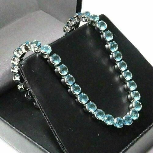Round Aquamarine Tennis Bracelet Women Engagement Jewelry 14K White Gold Plated