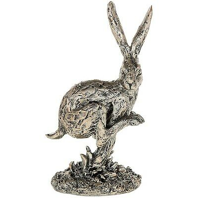 CHAMPAGNE BRONZE HARE RUNNING FIGURE ORNAMENT FIGURINE GIFT BOXED
