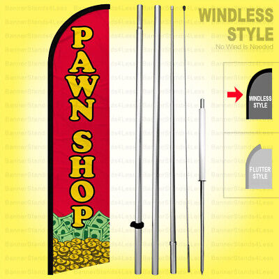 Pawn Shop - Windless Swooper Flag Kit 15 Tall Feather Banner Sign Rf-h