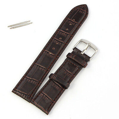 Unique 22mm Soft Genuine Leather Strap Steel Buckle Wrist Watch Band Brown