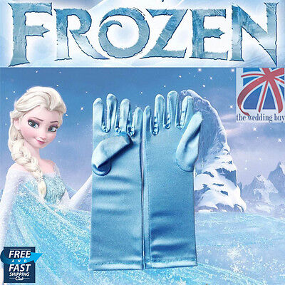UK Frozen Elsa Princess Satin Gloves Girls Fancy Dress Cosplay Toy Gift CPS001