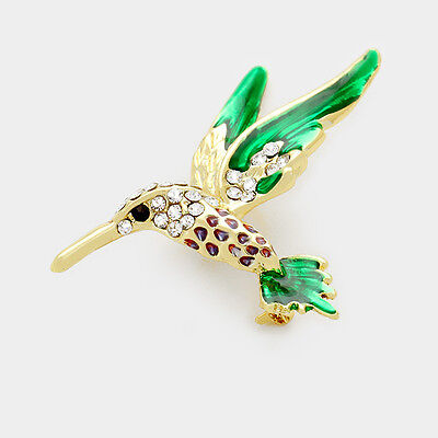 Green Wing Summer Hummingbird Bird Pin Brooch Crystal Stones Costume Jewelry