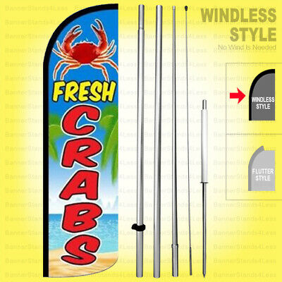 Fresh Crabs - Windless Swooper Flag Kit 15 Tall Feather Banner Sign Bq-h