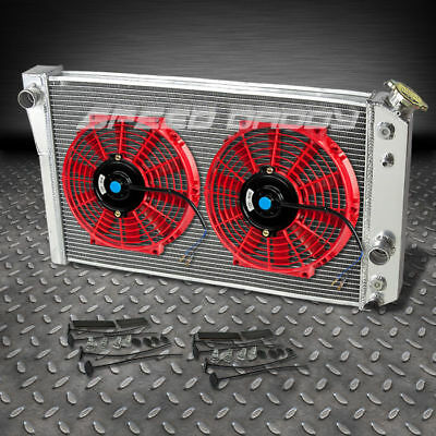 "3-ROW ALUMINUM RACING RADIATOR+2 X 10""RED FANS 82-02 CHEVY/CHEVROLET S10/S-10 V8 for sale  Rowland Heights"