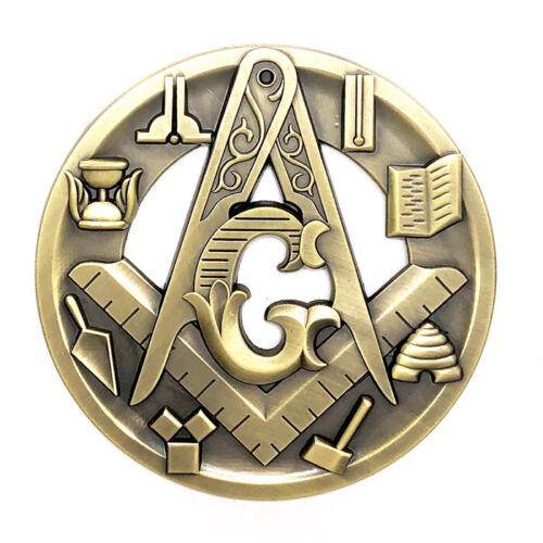 Masonic car emblem 3 inch gold #CD34