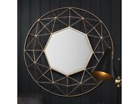 New Larger Andromeda gold round feature mirror Large £139 Small £59