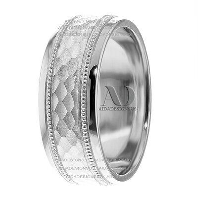Mens Diamond Cut Milgrain Wedding Band Solid 10K Gold Hammered Mens Wedding (Diamond Hammered Wedding Band)