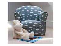 new grey white childrens cloud print armchair