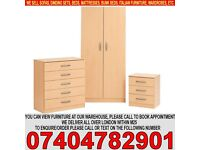BRAND NEW Ready built 2 door wardrob bedside and chest of drawer