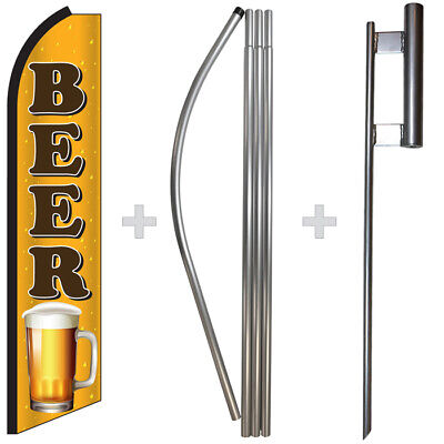 Beer 15 Tall Swooper Flag Pole Kit Feather Super Banner