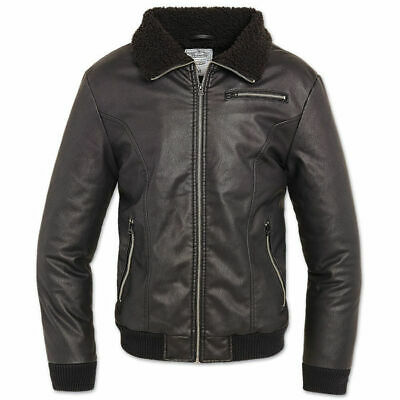 Brandit 9330.2 Mens B52 Bomber Military Pilot Biker Jacket Faux Leather Black