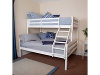 EXTRA FAST DELIVERY - TRIO WOODEN BUNK BED FRAME DOUBLE BOTTOM & SINGLE TOP HIGH QUALITY