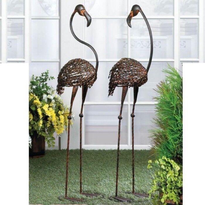 WILD FLAMINGO Garden Art Statue Duo Outdoor Decor