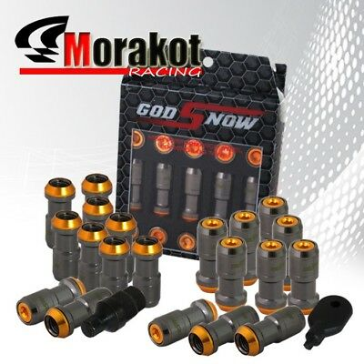 "20 Piece 1.9"" Extended Wheels Rims Lug Nuts M12 x1.25mm Thread Gunmetal/Orange"